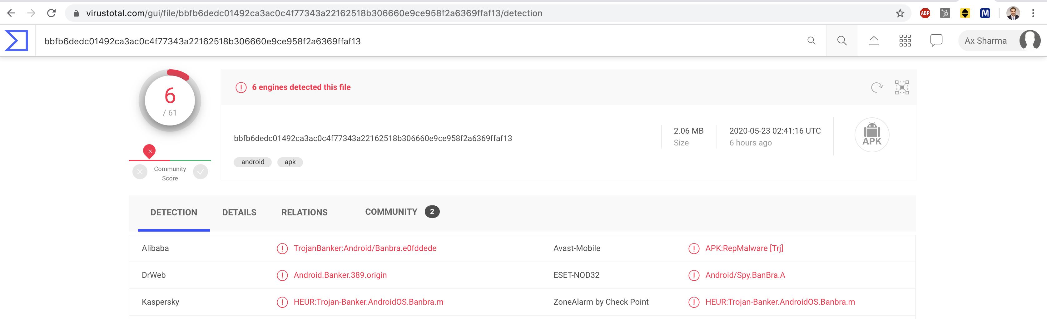 VirusTotal definitions for Defensor Android malware